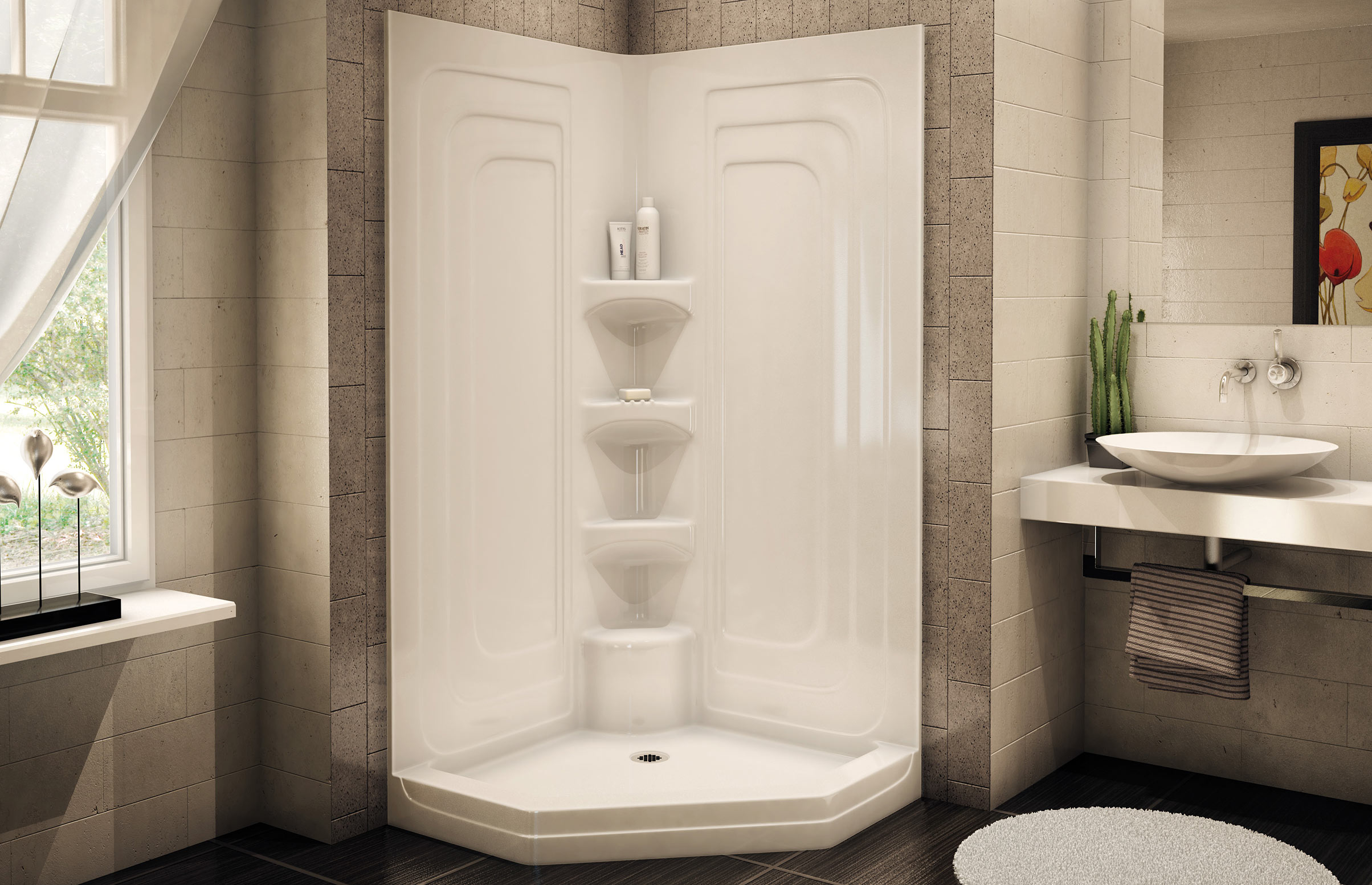 One Piece Shower Units For Having The Spa Sensation: Fantastic White Corner Design One Piece Shower Units