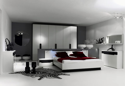 Make Large Your Room With Fresh Paint Colors For Small Bedrooms: Fantastic White Grey Modern Bedroom Paints Colors With Headboard ~ stevenwardhair.com Interior Design Inspiration