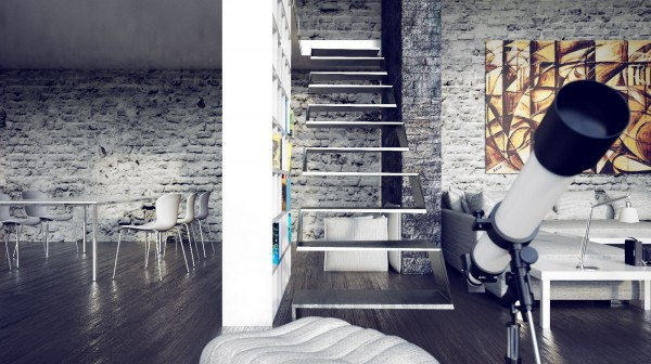 Mesmerizing Loft Decor With Dazzling Natural Look: Fascinating Beautiful Urban Loft Interior Floating Staircase Telescope