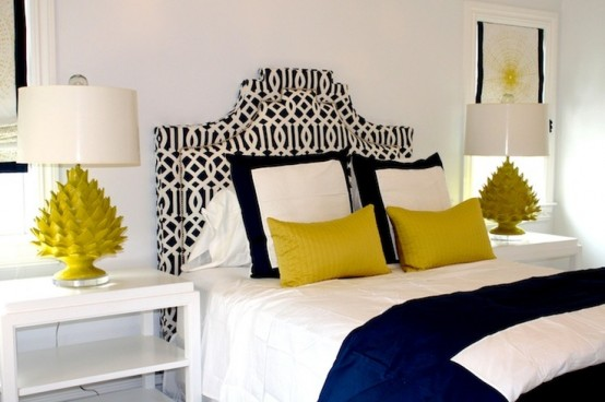 Fascinating Bedroom With Yellow Accent Of The Pillow