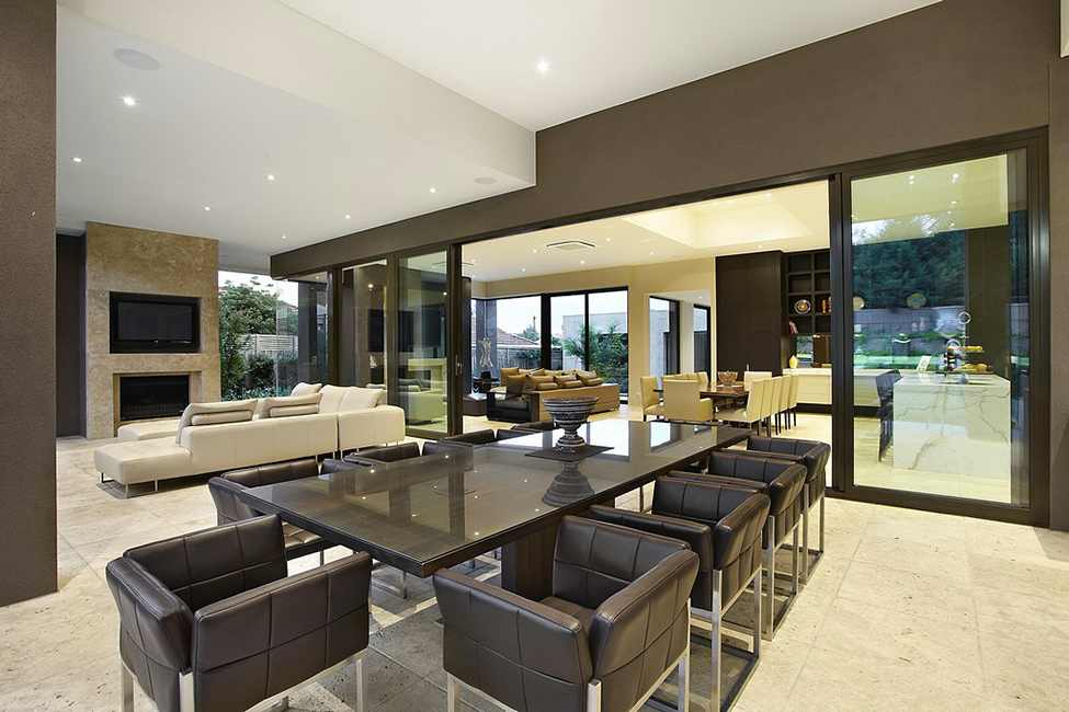 Elegant Modern Residence Design Showcasing Luxury Living: Fascinating Dining Room Space With Brown Table And Some Brown Chairs In Borrell Street Residence