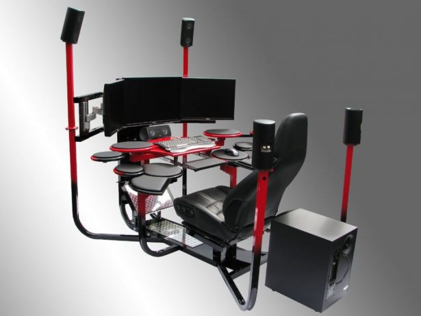 Computer Workstation Ideas, Do Not Be Afraid To Be Creative: Fascinating Extra Ordinary Computer Station With Jet Cabin Like And Full Audio Surround ~ stevenwardhair.com Office & Workspace Design Inspiration