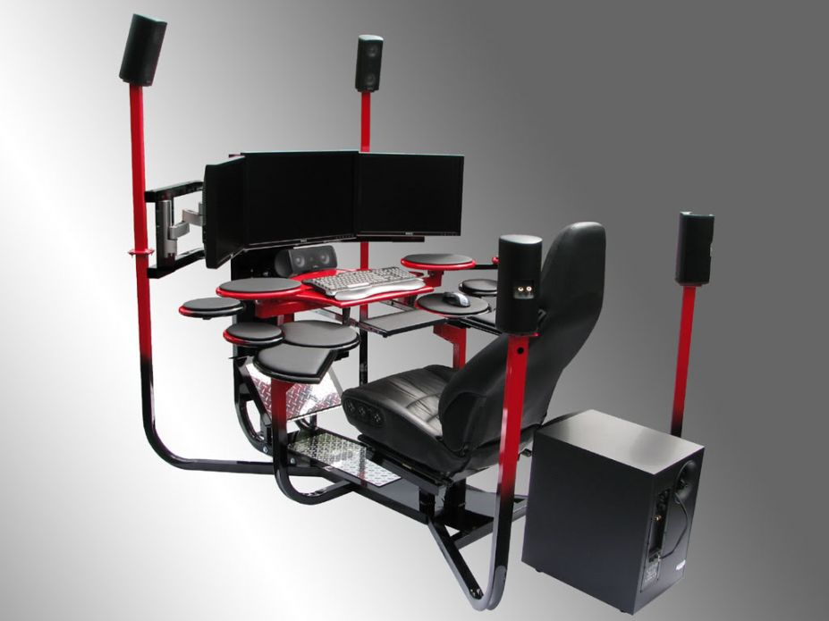 Computer Workstation Ideas, Do Not Be Afraid To Be Creative : Fascinating Extra Ordinary Computer Station With Jet Cabin Like And Full Audio Surround