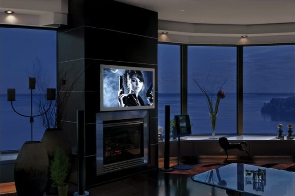 Well Considered House Window Installation To Get More Functions: Fascinating Madia Room With View TV Above The Fireplace ~ stevenwardhair.com Interior Design Inspiration