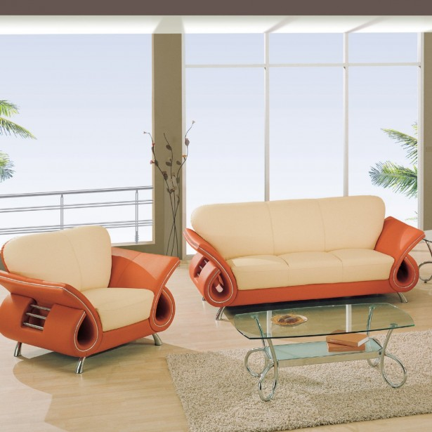 Orange Sofa As Cheerful Furniture: Fascinating Orange Sofa Design Open Living Room Glass Coffee Table ~ stevenwardhair.com Sofas Inspiration