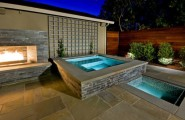 Stunning Outdoor Fireplace Design In Various Styles : Fascinating Stone Fireplace Warms You After A Soothing Dip Outdoor SPa