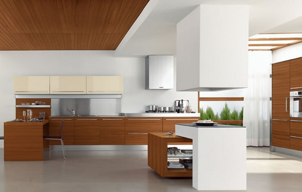 Small Modern Kitchen Design To Show Up The Charming Style : Fascinating  White Modern Kitchen Design