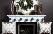 Cool Christmas Mantels Design With Colorful Ribbon And Glossy Ornament : Fascinating Wreath Unusual Mirror Christmas Mantels Design Luxurious Chairs