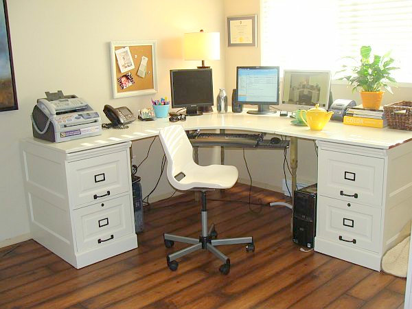 Wall Mounted Desks For Saving Space : File Cabinet DIY Desk