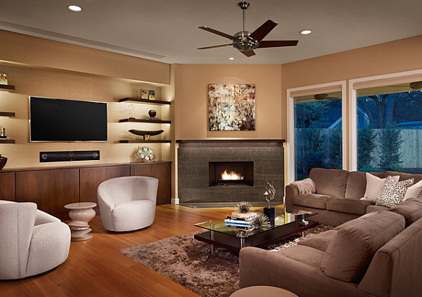 Well Groomed Corner Fireplace Ideas: Fireplace With A Floating Mantel