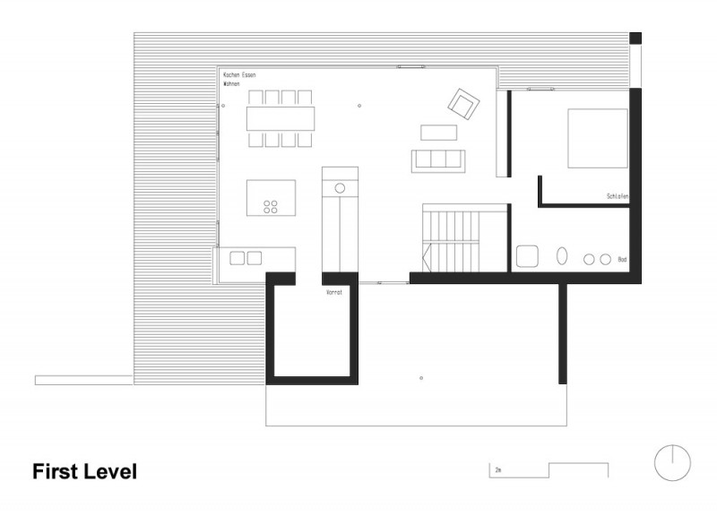Extraordinary Minimalist Wood House Around Natural Environment: First Level Wooden Home Layout Plan