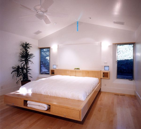 30 Design Ideas Of Modern Floating Bed: Floating Bed Design With Storage Units Underneath