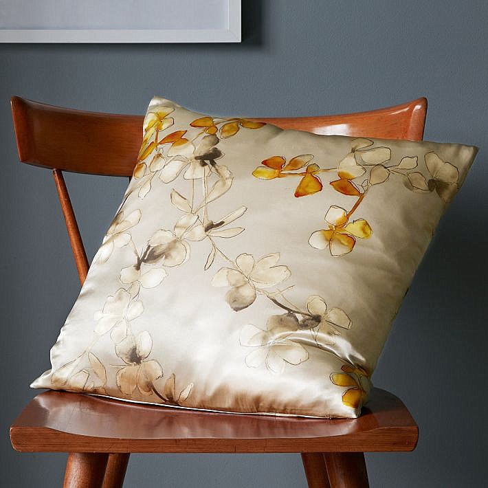 Fresh Throw Pillows For Your Powerful Spring : Floral Silk Pillow Cover In Neutral Shades