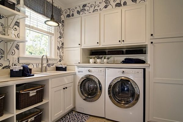 Wonderful Laundry Room With Smart Arrangement To Create Compact Environment : Floral Wallpaper Laundry Room With Laundry Sorter Baskets