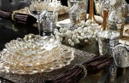 Buffet Table Decorating Ideas For Special Occasion : Flower Shape Plate Silver Detail Ornament Wine Glass Gold Candle Container