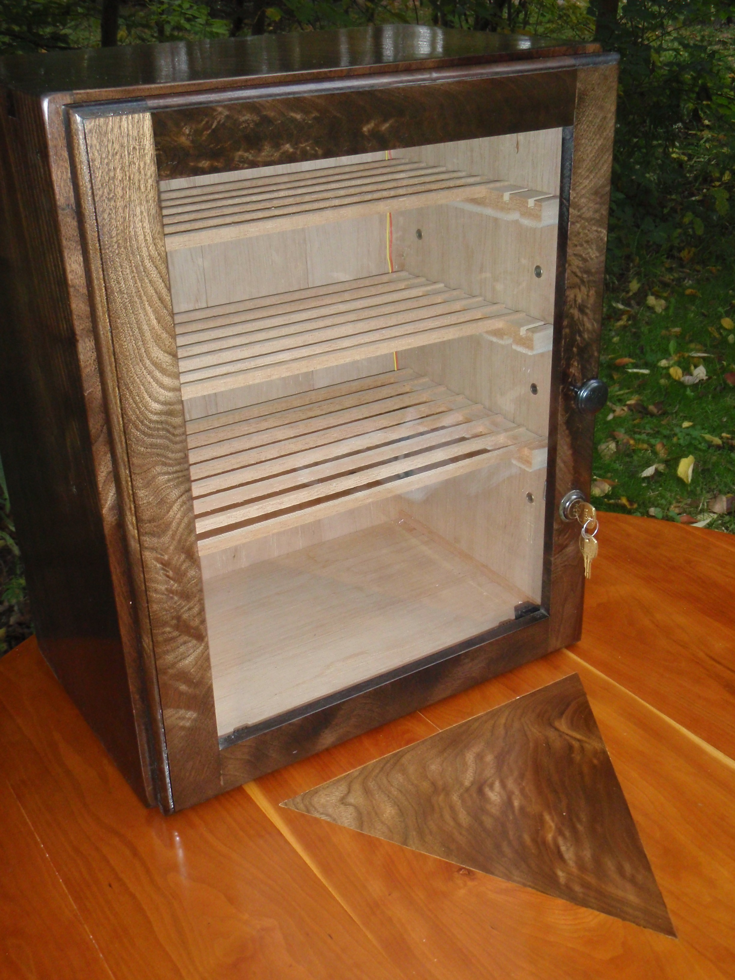 Unique Wine Humidor From Wooden Material: Four Levels Humidor With Key And Panel Wooden Wine Humidor Design