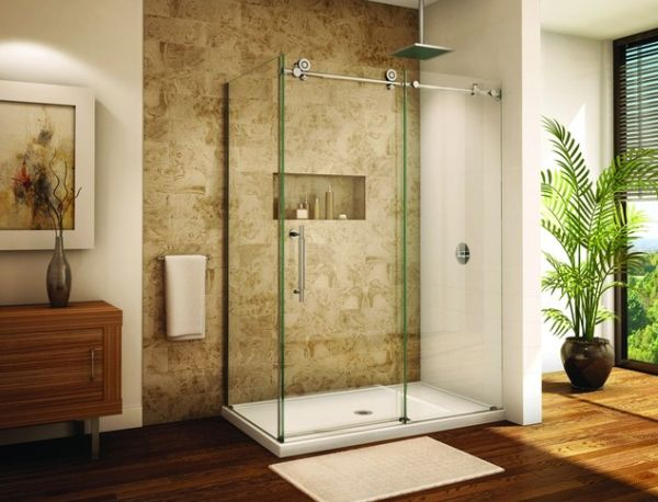 Awesome Sleek Sliding Door Showers: 11 Images : Frameless Sliding Glass Door Shower  Enclosure For A