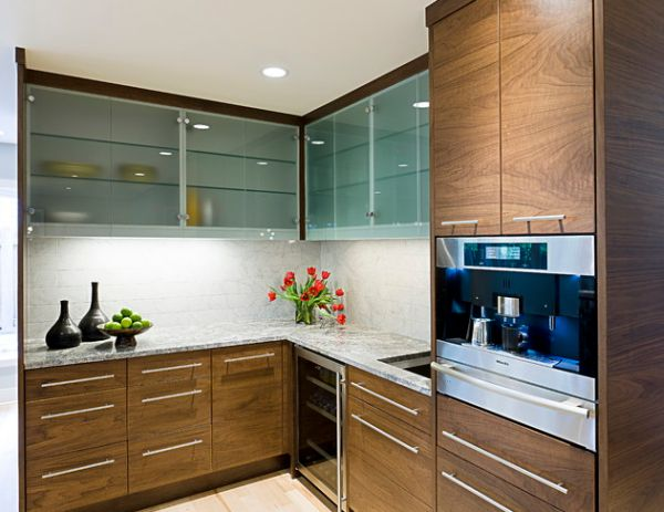Sparkling Kitchen Cabinet Designs With Glass Doors: Frosted Glass Cabinets Leave A Bit Mystery Thanks To The Translucent Look