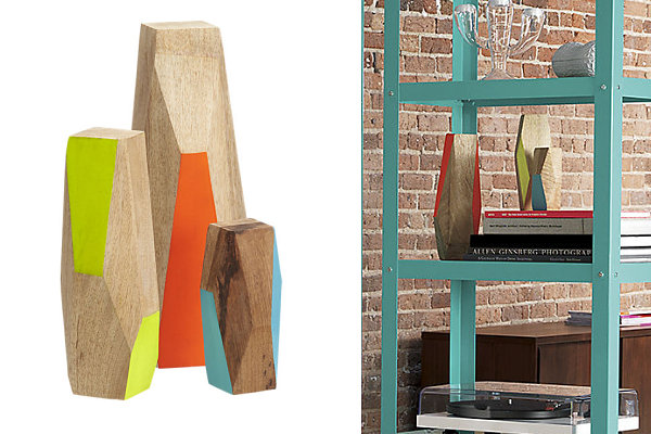 Trendy Wooden Decor In Geometrical Shape: Geo Forms With Bright Colors Open Storage Ideas On Industrial Interior