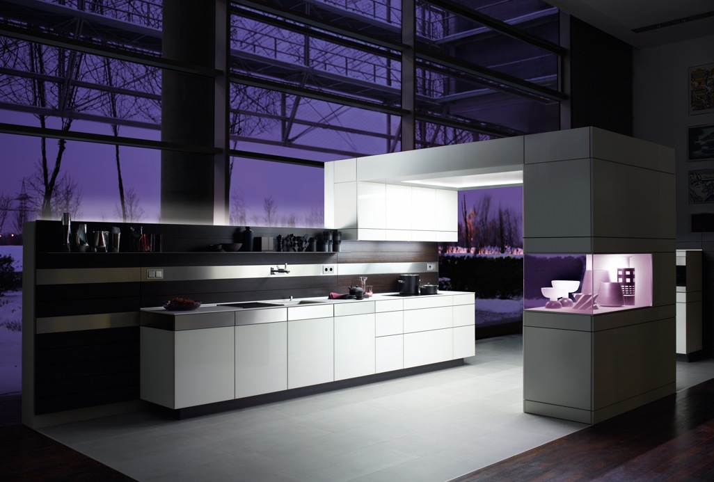 Purple Kitchen For Sensational Design Ideas : German Kitchen Design Lighting Showcase1