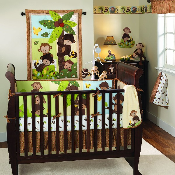 Colorful Baby Boy Nursery Interior Design : Give Your Baby Boy Loads Of Company With The Fun Bedding Set
