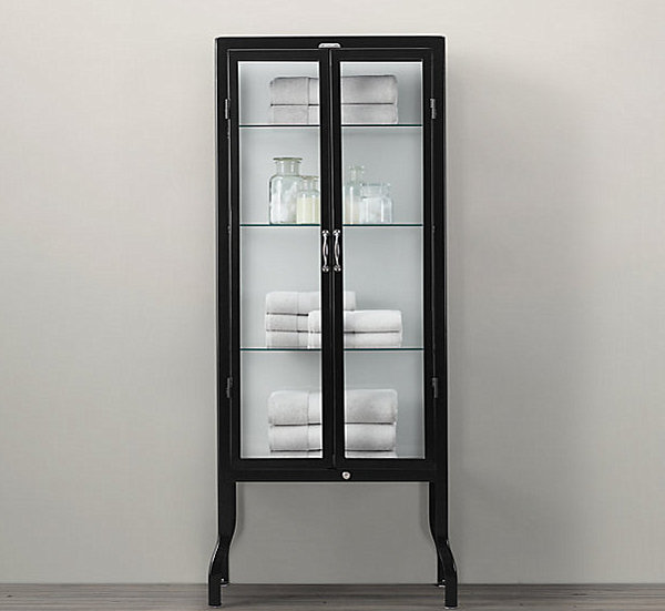 10 Images Of Stylish Glass Cabinets: Glass And Steel Pharmacy Cabinet
