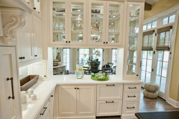 Sparkling Kitchen Cabinet Designs With Glass Doors : Glass Front Kitchen Cabinets Set In A Wooden Frame