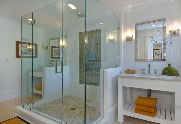Glass Shower Door For Bigger Impression : Glass Shower Area Creates A Spa Like Relaxing Environment With Its Cool Design1