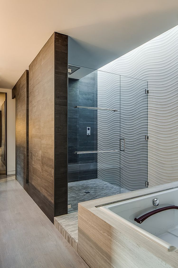 Stunning Inspirations For Home Renovation From Portola Valley House: Glass Shower Enclosure In California Home