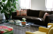 Brown Sofas For Classic Home Design : Glass Table Brown Sofa Green Plant Yellow Sofas