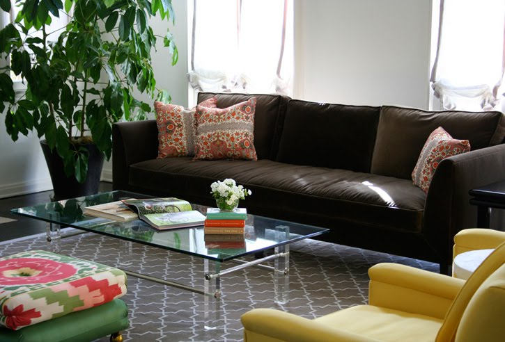 Brown Sofas For Classic Home Design: Glass Table Brown Sofa Green Plant Yellow Sofas
