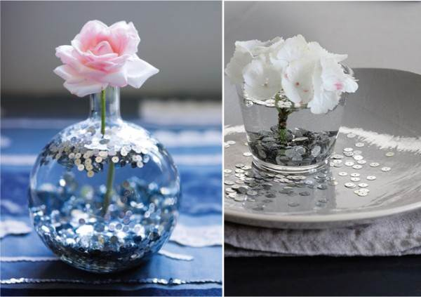 18 Ideas Of DIY Wedding Decorations For Spring : Glittery Wedding Decor