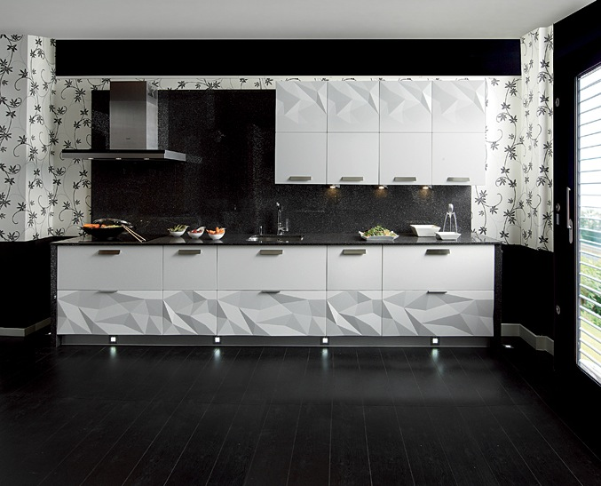 Classy Kitchen That Make The Cut: Modern Version : Gloss White Kitchen Black Backsplash