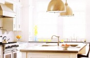 Brilliant Vintage Kitchen With Beautiful Lighting Ideas And Old Design : Glossy Range Hood Vintage Kitchen With Beautiful Lighting Ideas