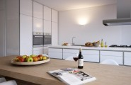 Beautiful Bright House Design Idea : Glossy White Kitchen Woden Dining Table Light Bright Beautiful Home