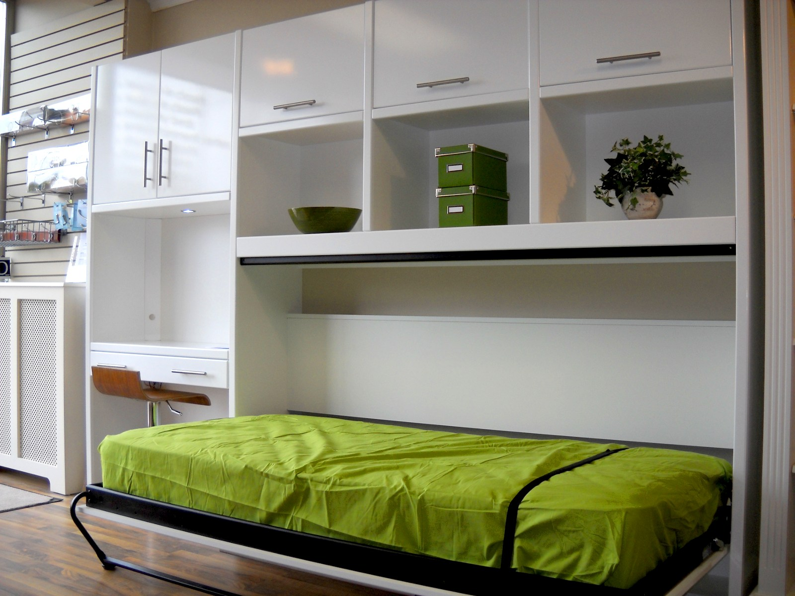 Closet Ideas For Small Bedrooms With Classy Look : Glossy White Side Modular Shelving Unit Combine With Storage Cabinet And Green Foldable Bed