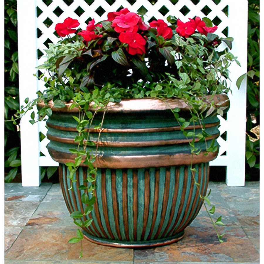 Colorful Verdigris Planter In Unique Design: Gold Blue Verdigris Planter Colors Beautiful Red Rose On Granite Floor
