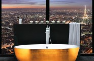 Trendy Freestanding Bathtubs Designs For Luxurious Bath : Gold Leaf Clad Freestanding Bathtub And A View To Match Its Opulence