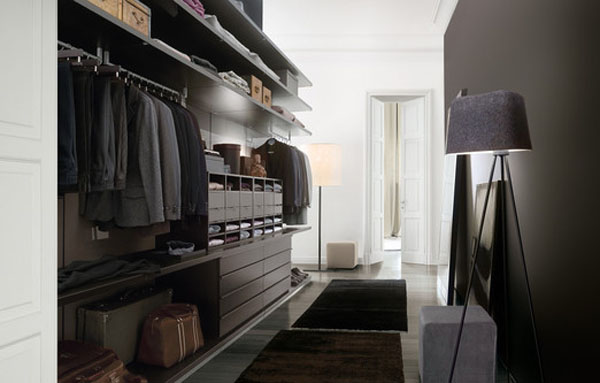 Simple Tips In Planning Walk In Closet Design: Goodly Black Wooden Clothes Press With Unique Floor Lamp In Long Tight Alleyway