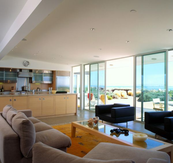 Stylish Sliding Glass Door Designs: 40 Modern Images : Gorgeous Beach House With Sliding Glass Doors For Ample Views