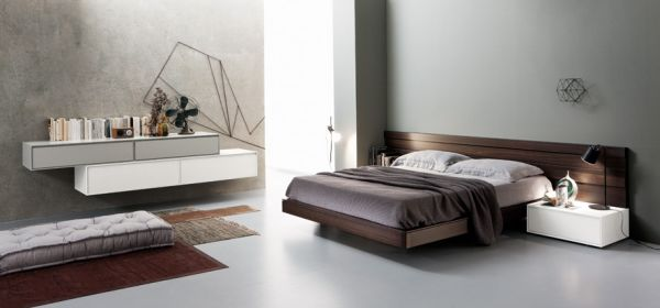 Elegant Touch Of Modern Bedroom Design: Gorgeous Bedroom In Concrete Wall With Floating Storage And Bed