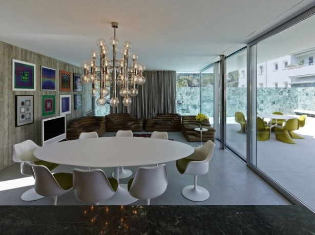 Contemporary Home Design: The A&B House In Austria: Gorgeous Chandelier Above The Dining Table ~ stevenwardhair.com Contemporary Home Design Inspiration
