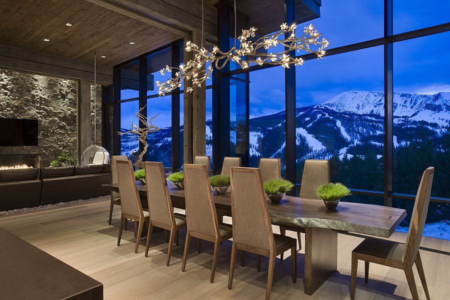 Top Ski Resort With Privacy For A Single Family: Gorgeous Chandelier Above The Dining Table With Glass Wall Design Ideas