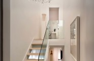 Nice White Interior For Clean And Cozy Look : Gorgeous Chandelier Lights Up The Stylish Interiors For Staircase Design With Crystal Chandelier