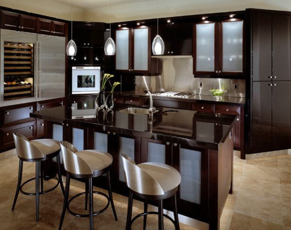 Sparkling Kitchen Cabinet Designs With Glass Doors: Gorgeous Contemporary Kitchen In Dark Hues Brings In Light Airy Appeal With Frosted Glass Door Cabinets ~ stevenwardhair.com Cabinets Inspiration