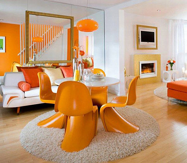Beautiful Orange Interior Paint To Energize Your Life Every Day! : Gorgeous Design Of Living And Dining Room With Orange Decor