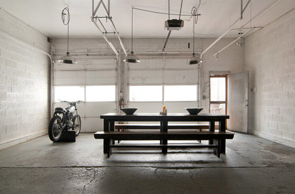 Mesmerizing Motorcycle Display For Gorgeous Decoration Concept: Gorgeous Dream Motorcycle Garage Industrial Style With Darkwood Table And Bench