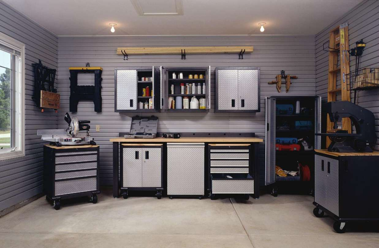 Garage Interior Design Ideas For Minimalist Home : Gorgeous Gray Modern Style Garage Interior Design Ideas