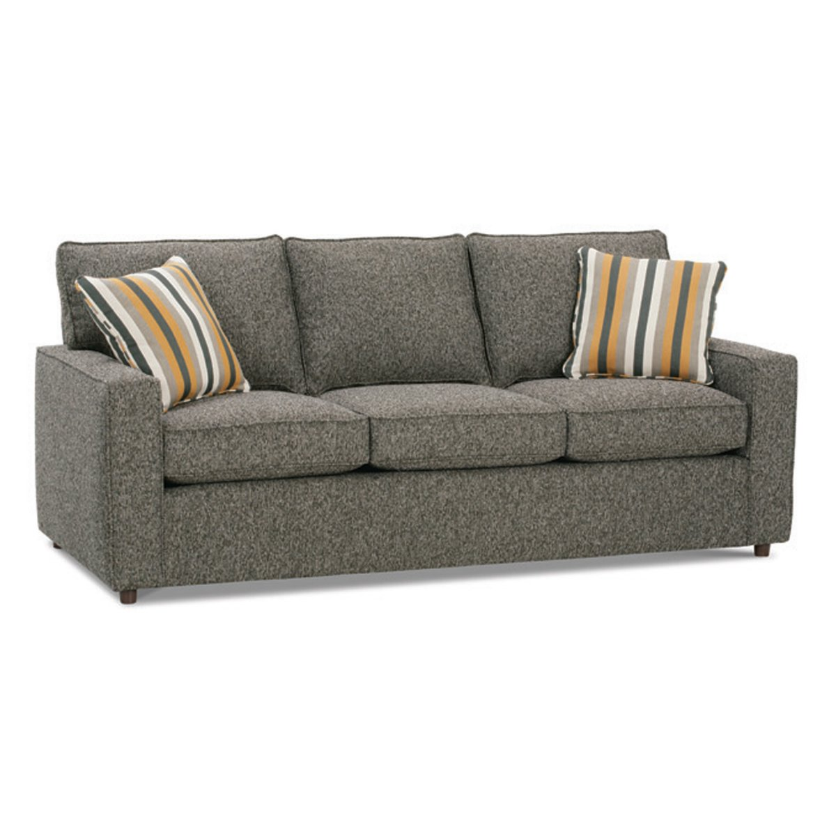 Mini Sofa Styles Creates Cute Room Atmosphere: Gorgeous Gray Modern Style Mini Sofa Strips Cushion Design
