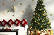 Christmas Decor Idea: Living Room And Dining Room : Gorgeous Living Room Decoration With Christmas Decals And Room Themes